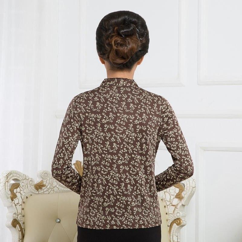 Новое поступление чистый шелк вязаный гофрированный круглый вырез Футболка женская, 100% шелк модный длинный рукав принт Женская футболка - 4