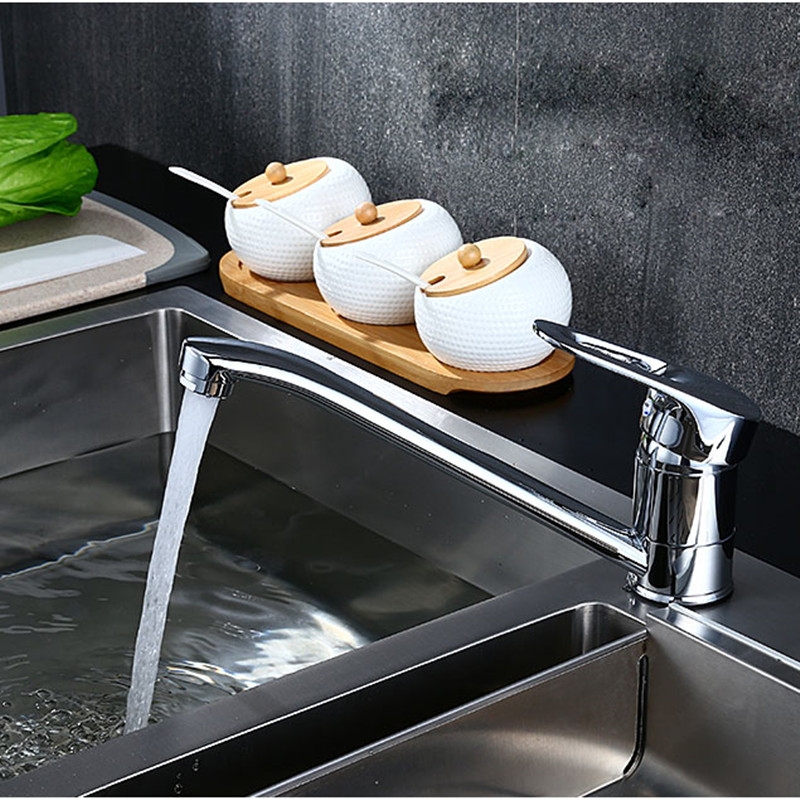 Kitchen Sink Basin Faucet Deck Mount Bright Chrome Washing Basin Mixer Kitchen Water Tap Water Faucet Kitchen Sink Faucet