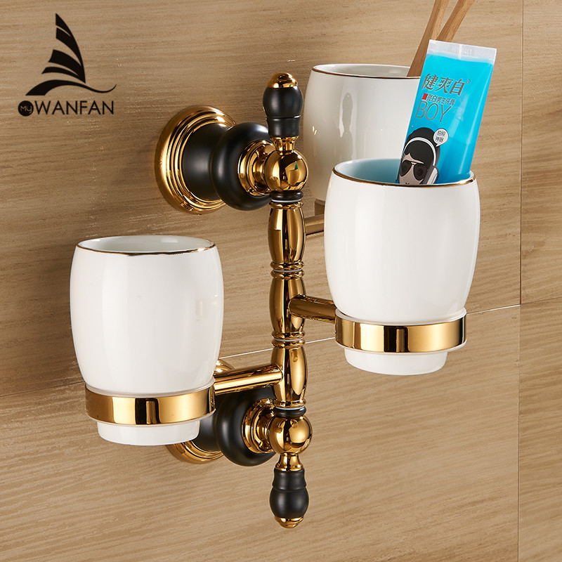 Cup & Tumbler Holders 3 Cup Holder Toothbrush Adjustable 3 Porcelain Wall Mounted Cup Rack Bathroom Accessories XL66836 european style luxury gold toothbrush holder tumbler holder double cup holder bathroom accessories free shipping 9089k