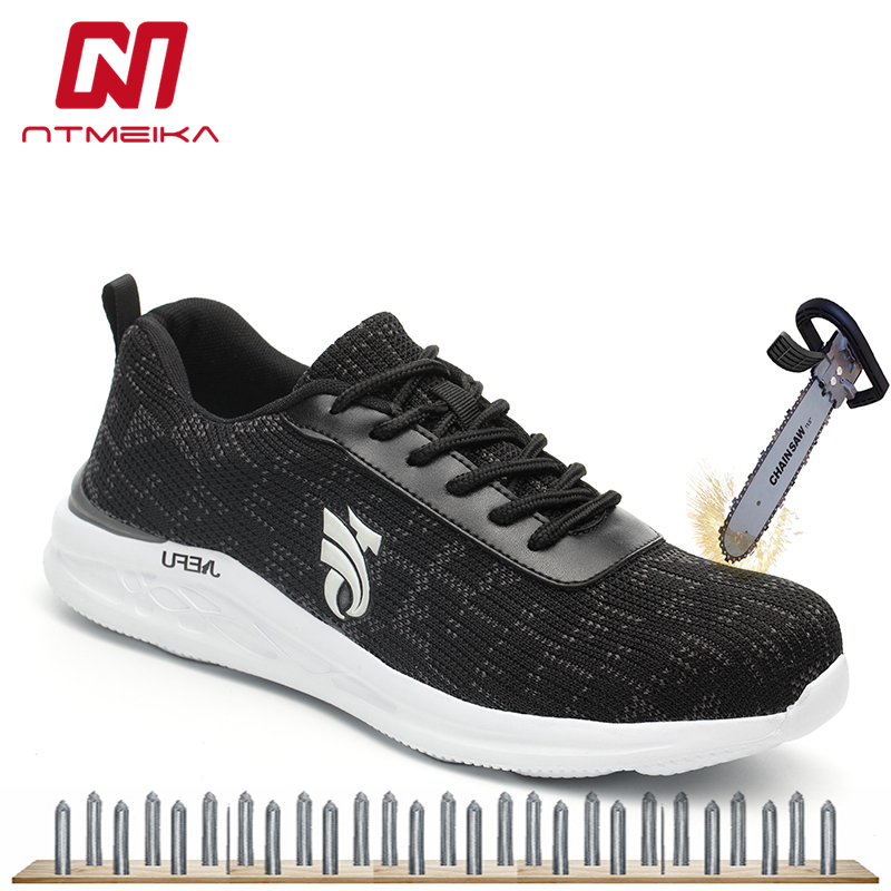 Breathable Men Work Safety Shoes With Steel Toe Shoes Fashion Safety Work Boots Lightweigh Sneaker Construction Protective Shoes