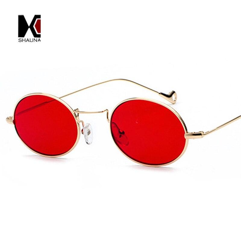 SHAUNA Classique Femmes Petit Ovale lunettes de Soleil De Mode De Sucrerie Couleurs Hommes Effacer Lentille Rouge Lunettes UV400