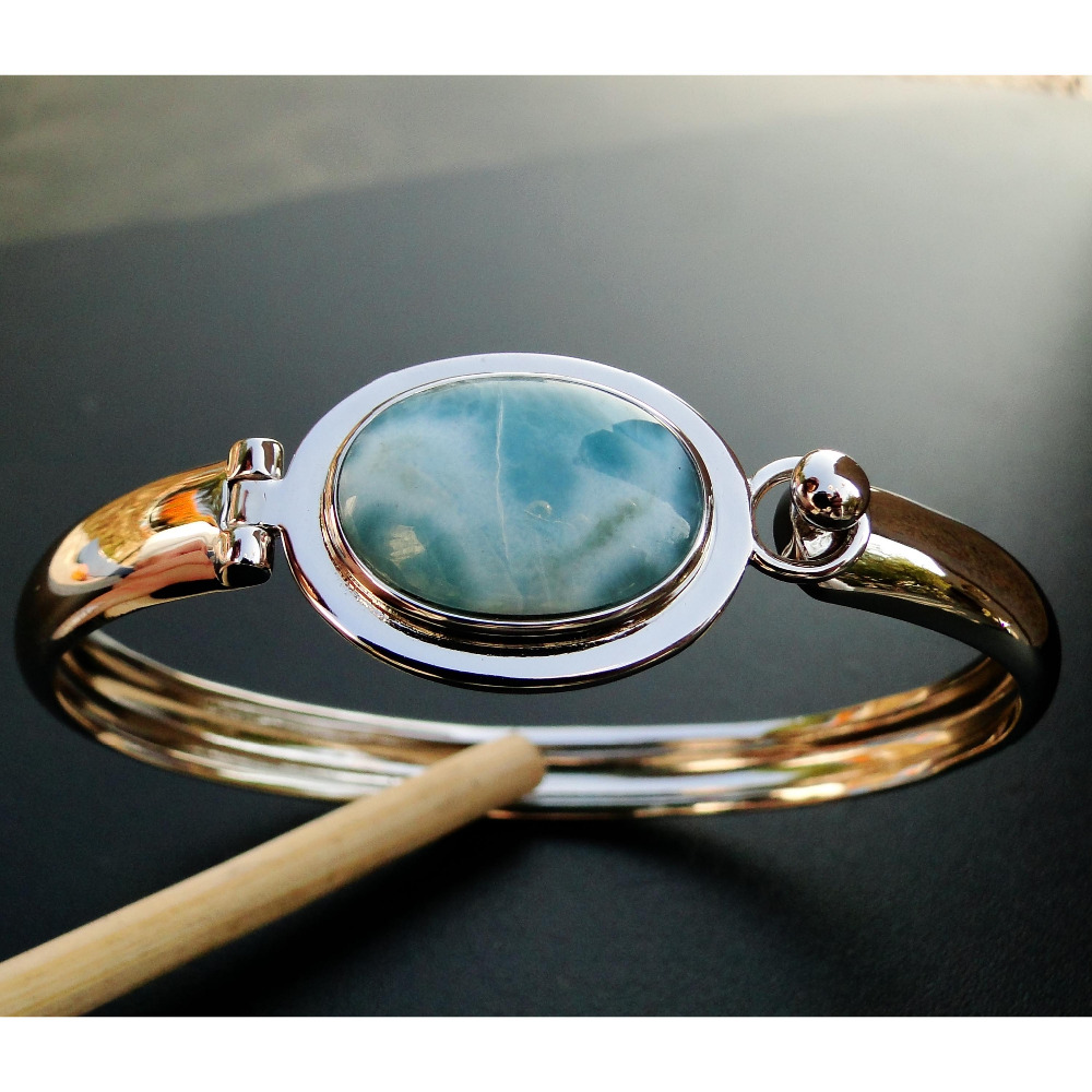 Women Jewelry High Quality Natural Larimar Bracelet Fine Jewelry Larimar Bangle 100 925 Sterling Silver Bangle