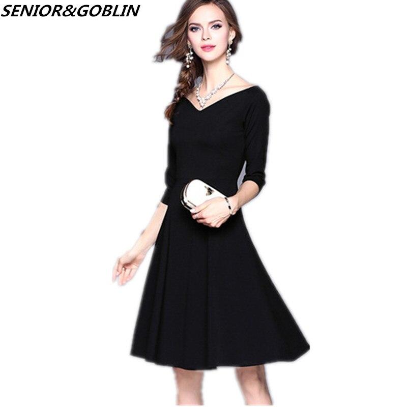 Новое поступление женское платье 2019 весна лето семь точек рукав v образный вырез маленькое черное платье сексуальное платье миди купить на AliExpress