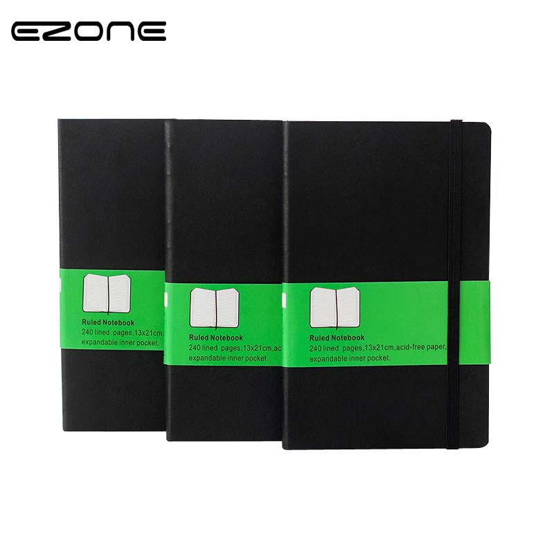 EZONE Classic Office Hardcover Bandage Notebook Planner PU Inner Blank/Grid/Line Business Note Book Stationery Work Book Notepad nnrts creative cloth hardcover notebook blank box notepad painting graffiti diy hand book stationery