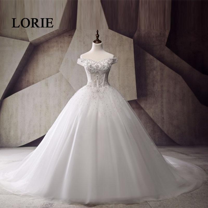 See Through Corset Style Princess Wedding Dresses 2017 Vestido de noiva Plus Size Bridal Dress Off Shoulder With Luxury Pearls