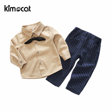 Kimocat Baby Clothing Sets Kids Newborn Solid 3pcs Shirt+Pants+Bow Tie Baby Boy Clothes Infant Clothes Outfits Sets Long Sleeve 2017 spring newborn baby boy clothes bow lie kids suit clothing sets 3pcs children bebe solid cloth outfit sport coats boys