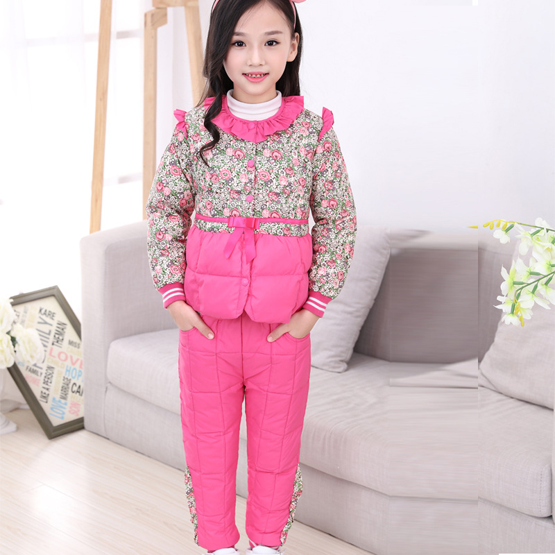 NEW 2018 Winter Children Clothing Sets Duck Down Jacket Sets Pants-jacket Baby Girls Winter Jacket & Coat Pony Pattern Snow Suit 2016 winter boys ski suit set children s snowsuit for baby girl snow overalls ntural fur down jackets trousers clothing sets
