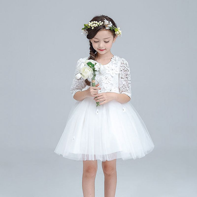 YNB  Girls Long Sleeve Dress for Party and Wedding 2017Girl Dress Children Summer Clothing Kdis White Pink Princess Dresses Girl ynb 8 pieces long sleeve party dress girl red princess children new year dresses for girls wedding party satin clothes bow dress