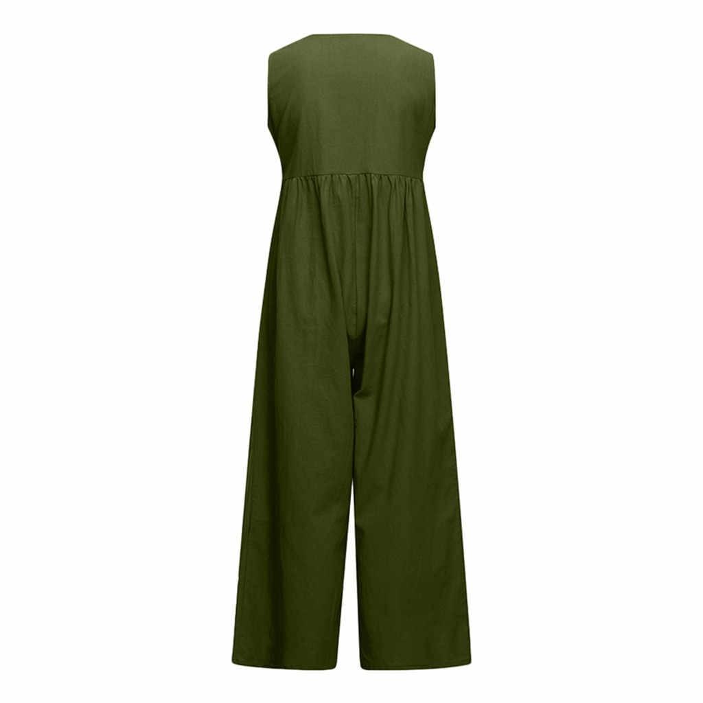 Womail Fashion Women Casual Solid High Waist Cotton Linen Jumpsuit  Button Romper Sleeveless Romper Jumpsuit Summer Beach Mar 4