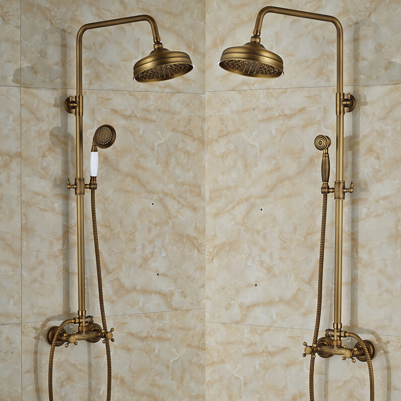 Antique Brass Shower Faucet Wall Mounted 8\