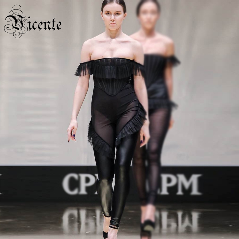 Free Shipping! Stylish Lace Ruffles Black Jumpsuit Sexy Off The Shoulder PU Splicing Wholesale Celebrity Party Bandage Jumpsuit
