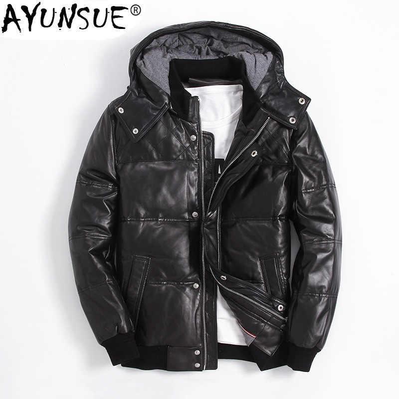 21ff82ee2 AYUNSUE Winter Genuine Leather Down Jacket Men Short Sheepskin Coat Men's  Winter Jackets Puffer Duck Down Coat XGY22055 KJ1144