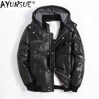 AYUNSUE зимняя куртка пуховик из натуральной кожи Мужская короткая дубленка мужские зимние куртки пуховое пальто XGY22055 KJ1144