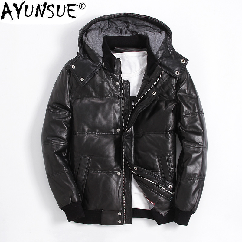 AYUNSUE Winter Genuine Leather   Down   Jacket Men Short Sheepskin   Coat   Men's Winter Jackets 2018 Puffer Duck   Down     Coats   KJ1144