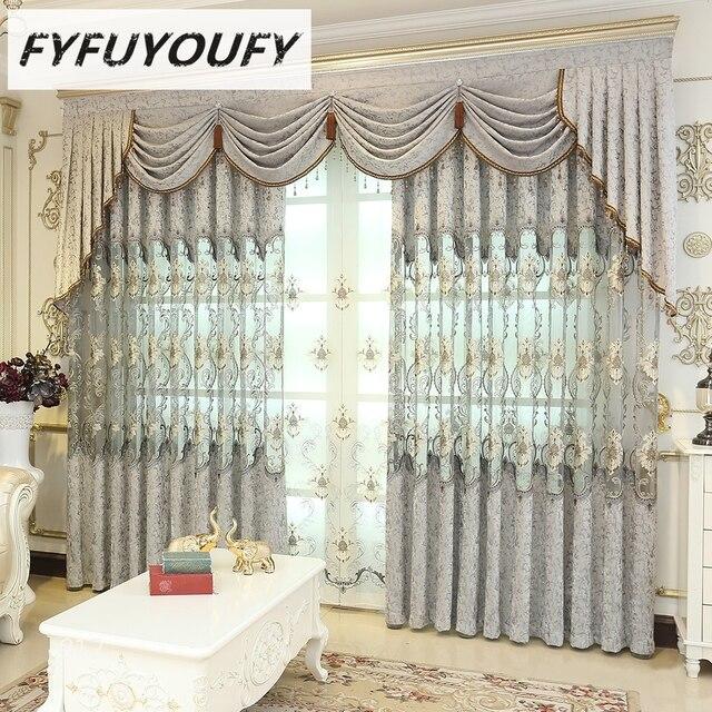 fyfuyoufy europese luxe gordijnen voor de woonkamer geborduurde tule gordijnen hoge kwaliteit gordijnen voor de slaapkamer