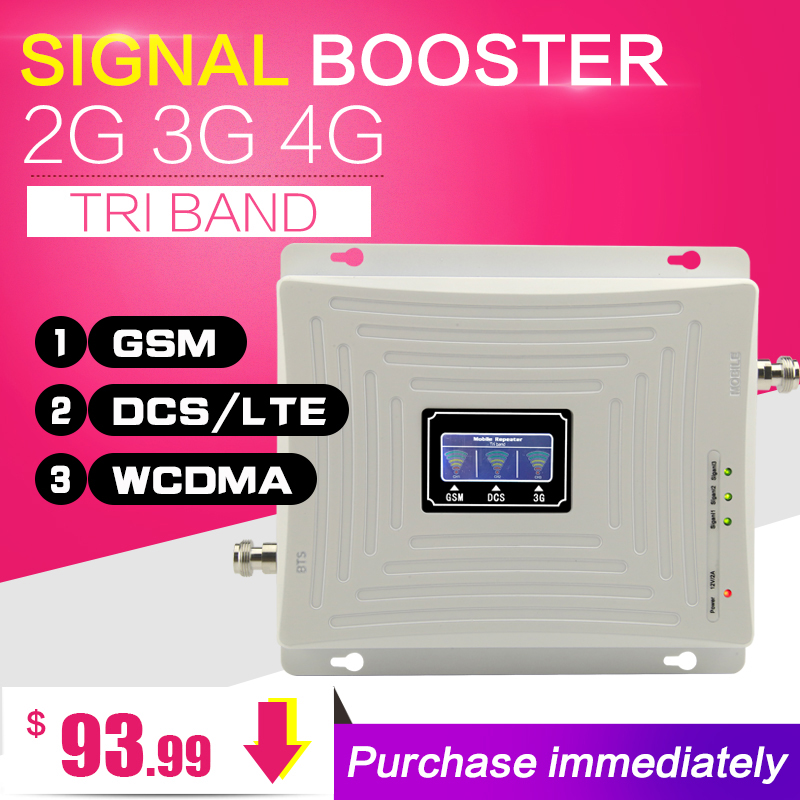 Europe GSM WCDMA DCS LTE 2g 3g 4g Cellular Cell Phone Signal Booster 900 1800 2100 Mhz Tri band Mobile Signal Booster Antenna-in Signal Boosters from Cellphones & Telecommunications    3