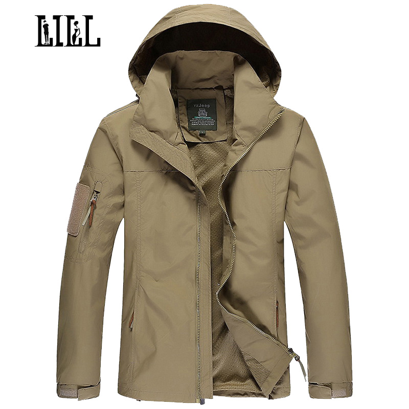LILL Mens Military Waterproof Jacket Coat Men Spring Army Style Outerwear Hooded Camouflage