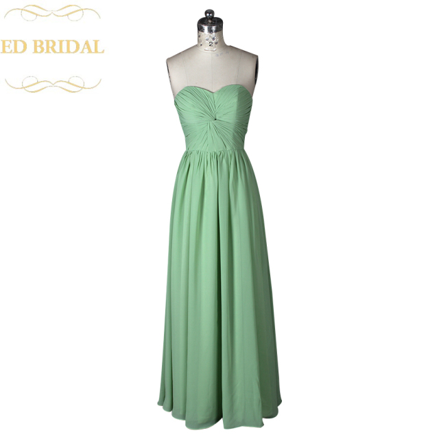 Lange Sage Green Brautjungfer Kleid Chiffon Trauzeugin Kleid Party ...