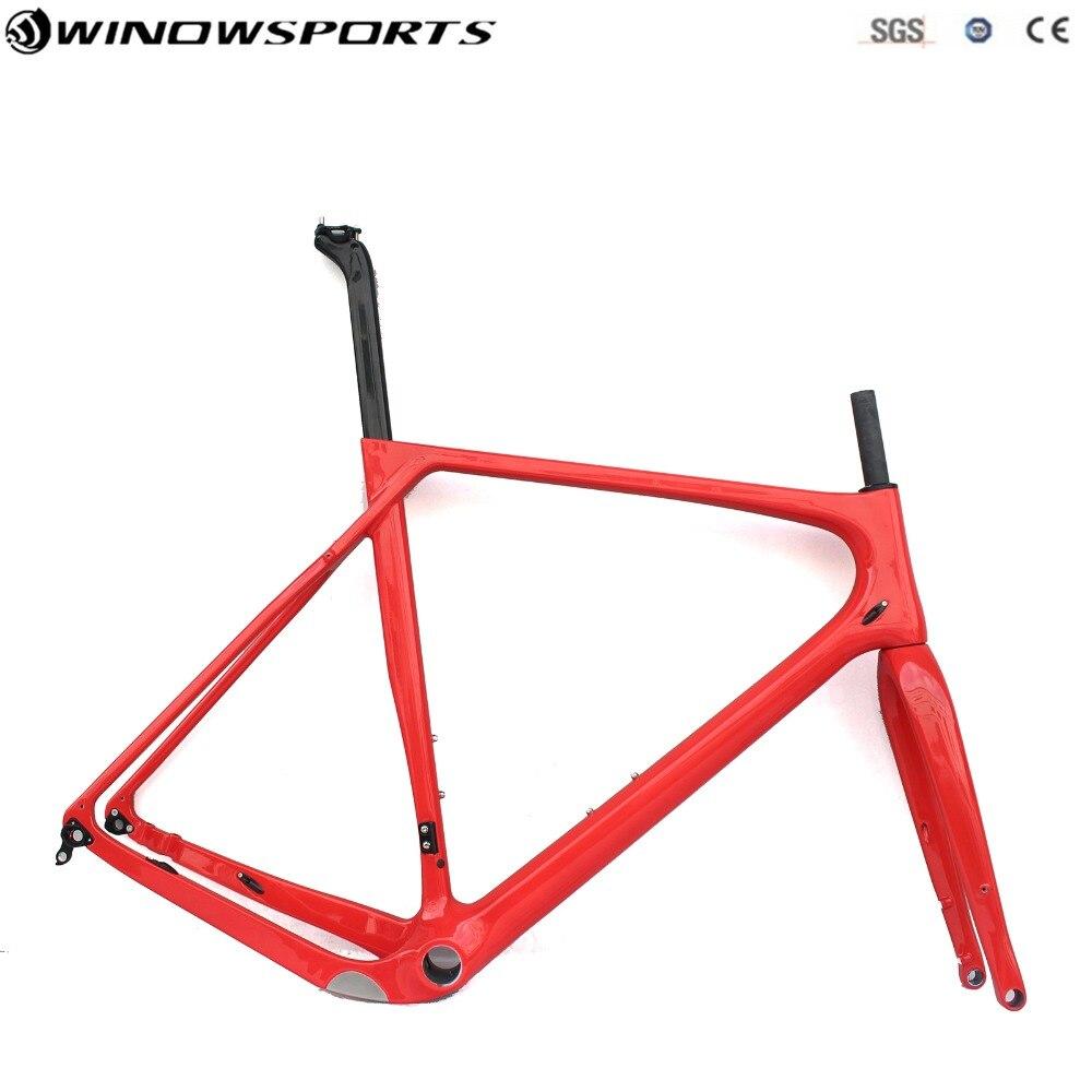 2018 Hot Sell Gravel Bike Frame 700*40c Disc Brake Full Carbon Gravel Bicycle Frame 142*12 Size S/M/L/XL