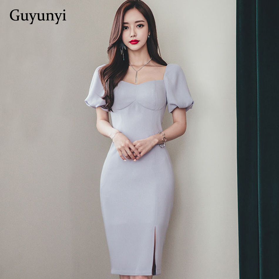 Plain Color Elegant Office Dress 2019 Summer Small Sexy Square Collar Short Puff Sleeve Slim Athens Dress Women