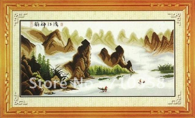 Cross stitch Chinese Lijiang river 81*45cm