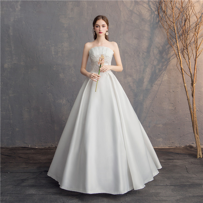 Do Dower 2019 Strapless Simple Satin Wedding Dress A line Lace Up Princess Sation Wedding Gown