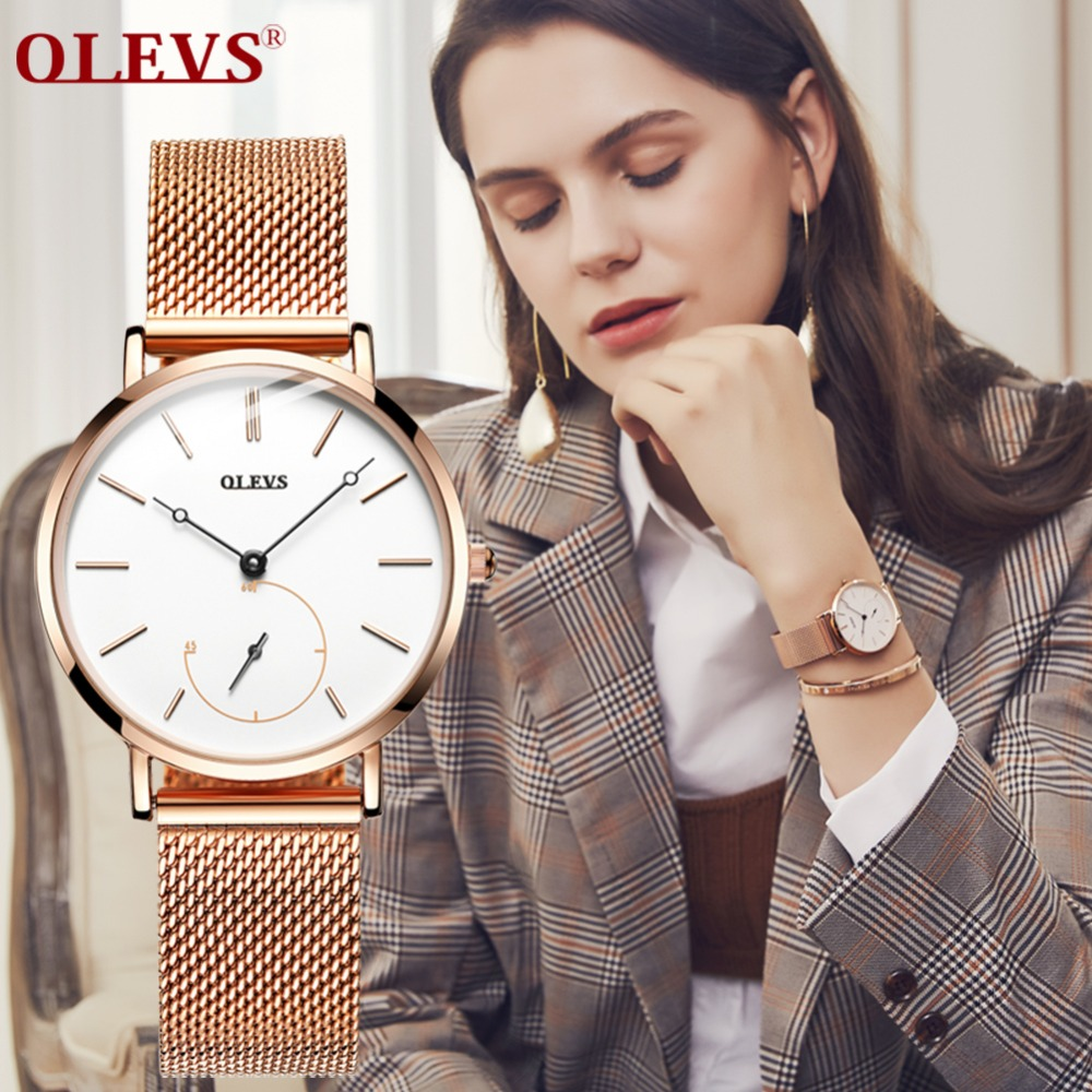OLEVS Ultra thin Watch Women Bracelet Brand Clock Womens Gold Ladies Watch High Quality Charm Wrist Watch Gift horloges vrouwen