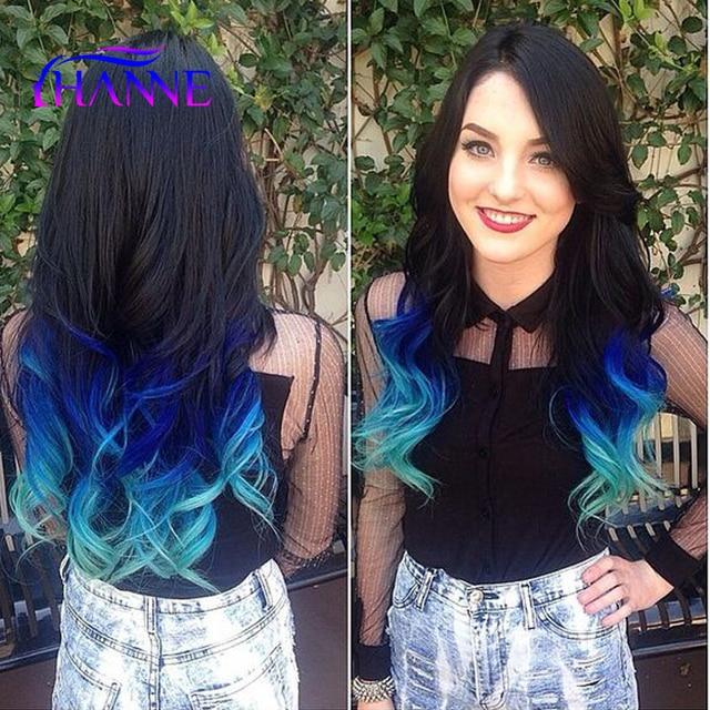 Aliexpress.com : Buy Black Blue Light Blue Synthetic Hair ...
