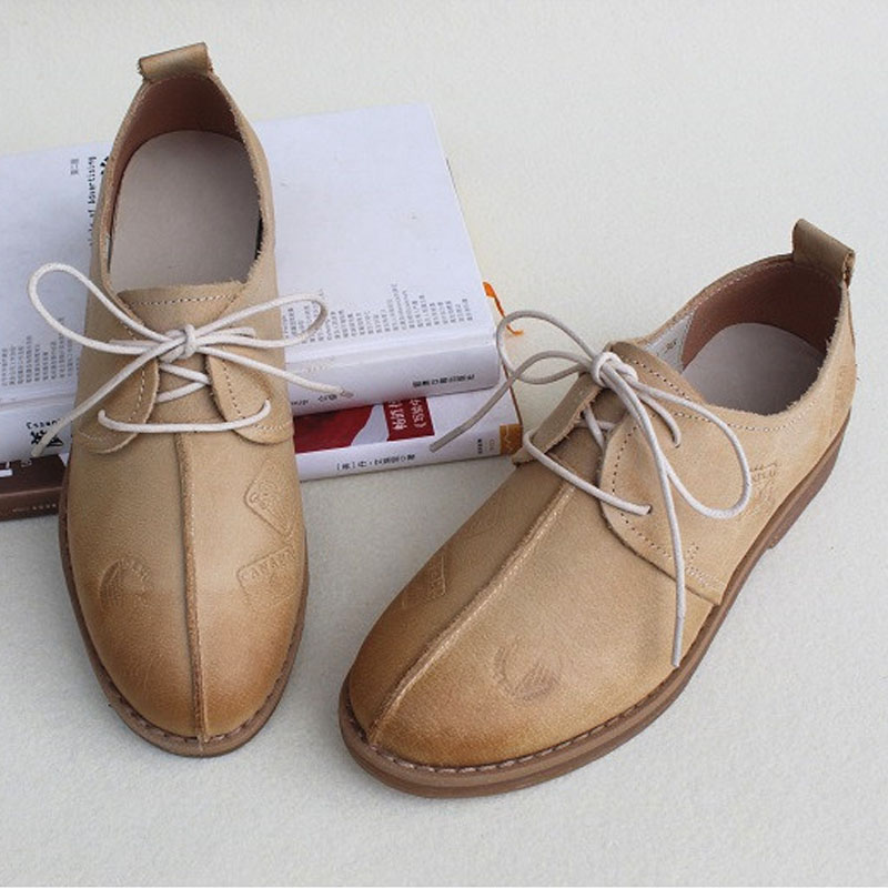 Women's Shoes Flat 100% Authentic Leather Oxford Shoes for Women Round toe Lace up Ladies Flat Shoes Female Footwear (170-1) women s shoes flat 100% authentic leather oxford shoes for women round toe lace up ladies flat shoes female footwear 170 1