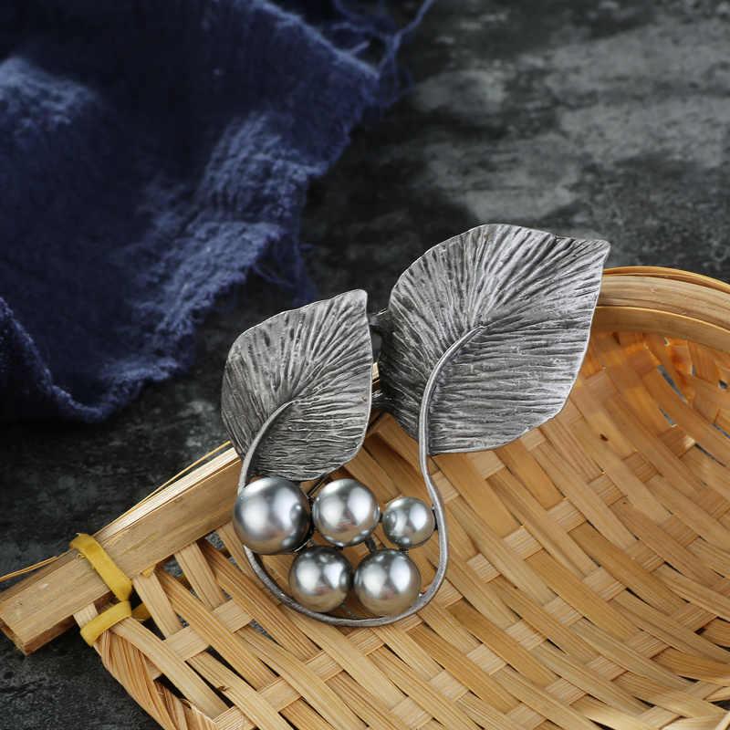 Trendi Mutiara Lotus Daun Bros Pin Vintage Bros untuk Wanita Tanaman Daun Lotus Bunga Bros Pakaian Perhiasan Aksesoris Pesta
