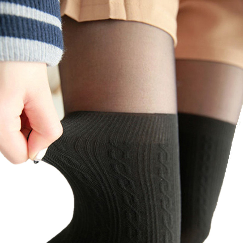 2020 Tights Women Spring Autumn Style Women Girls Cute Black Twisted Knee Stockings Twisted Pantyhose Tights Female Pantys