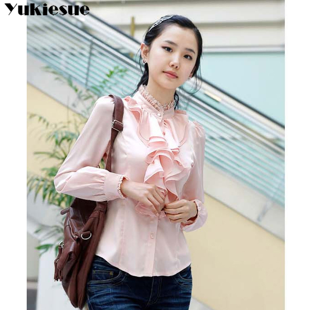 2019 summer women's shirt blouse for women blusas ruffles offical womens tops and blouses chiffon shirts woman top plus size 5