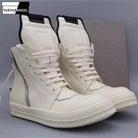 Для мужчин брендовая повседневная обувь с высоким берцем женские ботильоны ботинки из искусственной кожи; сандалии с застежкой на молнии и