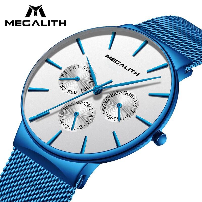 bc46223b3c3e MÉGALITHE Montre Hommes Mode Sport Quartz Simple Horloge De Luxe Étanche  Ultra Mince Date Bracelet À