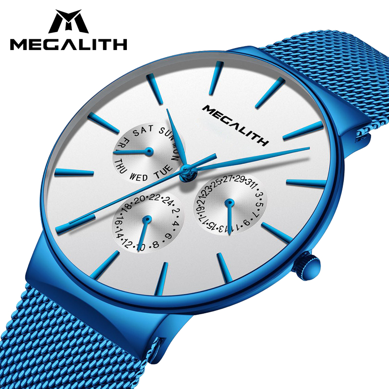 MEGALITH Watch Men Fashion Sport Quartz Simple Clock Luxury Waterproof Ultra Thin Date Quartz Wrist Watches For Men Montre Homme цена и фото