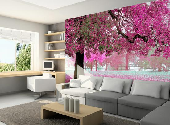 3D murals wallpaper custom Purple cherry trees sitting room the bedroom TV sofa background picture 3 d wallpaper dirt road design 3 d large sitting room the bedroom room corridor screen maple mural wallpaper background picture papeles pintad