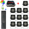 Charging Case + 10PCS 5IN1 RGBWA LED Flat Par Lights Battery Operated Wireless DMX Stage Party DJ Uplighting With Remote Control