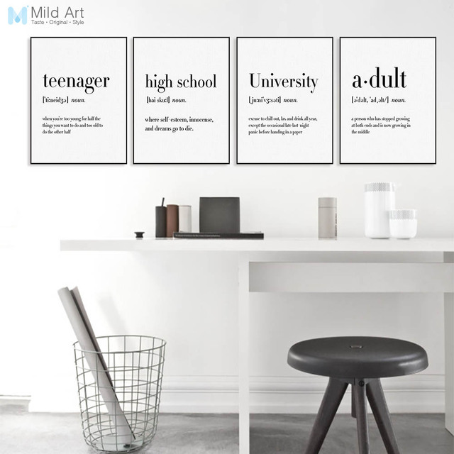 Minimalist black white office quotes typography posters nordic living room wall art pictures home decor canvas