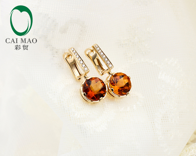 CaiMao 18KT/750 Yellow Gold 3.352ct Citrine AAA  0.09 ct Round Cut Diamond Engagement Earrings Jewelry