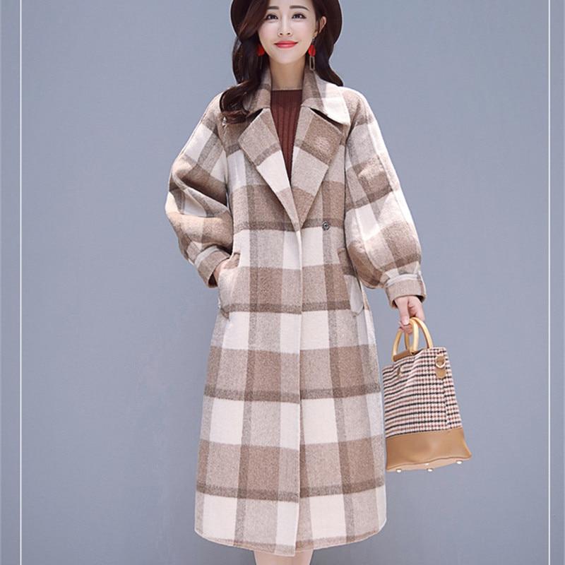 Femmes Casual Avec Plus Taille 2018 Laine Mode D'hiver Ceinture La Manteaux Long Style Manteau Coréenne Plaid AaxqrAzOP