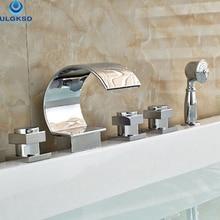 Ulgksd Chrome ванной кран 5 шт. смесители Новинка для Ванной Душа с ручной носик бортике