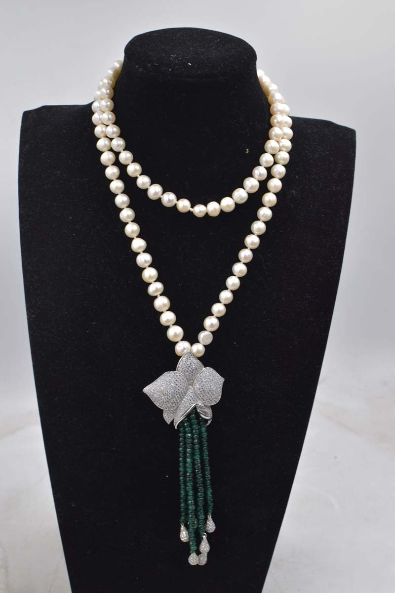 wholesale freshwater pearl white round 8 9mm and green jades stone tassel beads neklace 35inch FPPJ