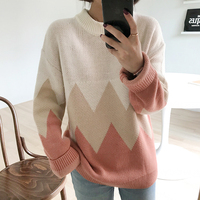 2019 New Winter Women Casual Sweaters Korean Geometric Patchwork Long Sleeve Thicken Pullovers Jumpers Female Vintage Sweater