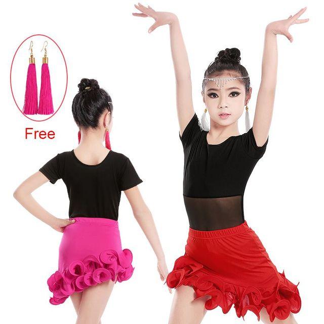 Sexy À Manches Courtes De Danse Latine Jupe Costume Enfants Filles Salle De  Bal De Danse c03aa187127