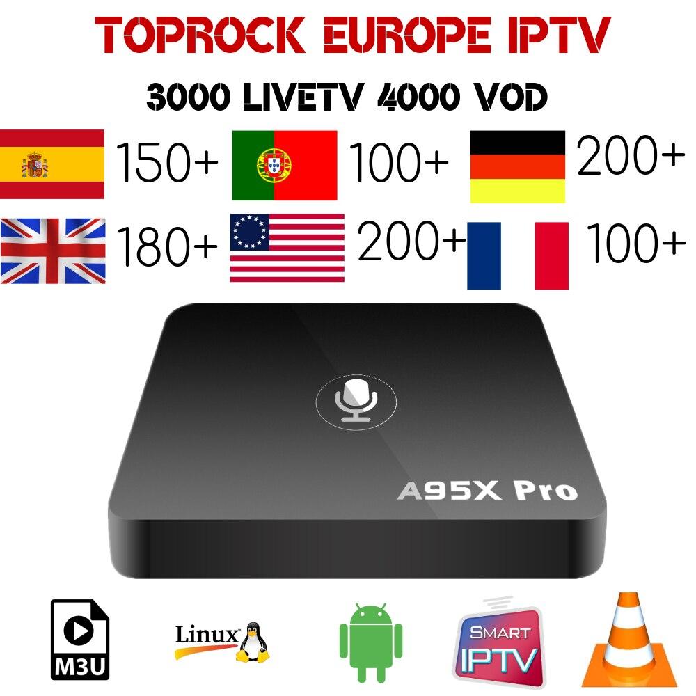 A95x pro android smart tv box 1 Year Toprock IPTV Europe IPTV Spain