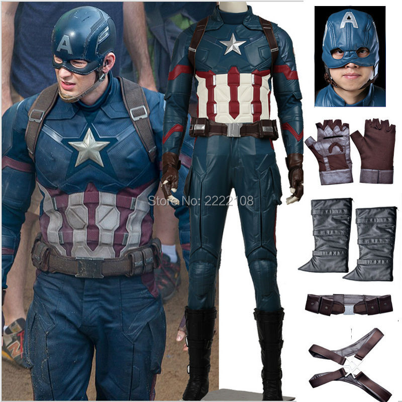 2018 Marvel The Avengers:Age of Ultron Captain America 3 Civil War Cosplay Costume Steve Rogers Outfits Adult Superhero Costume