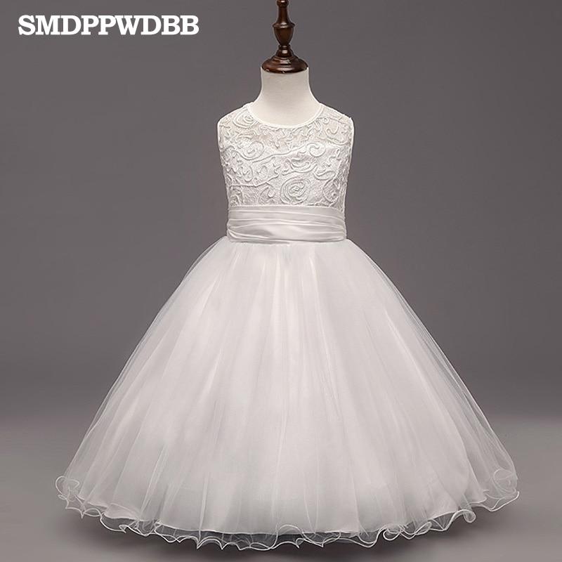 SMDPPWDBB White   Girls   Sleeveless Princess Children   Flower     Girl     Dress   For Wedding 4-10 Years   Girls   Trailing Party Prom   Dresses