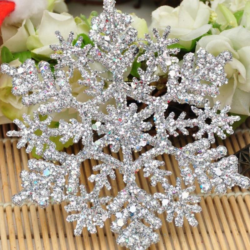 12pcs/Set Sparkly Glitter Snowflake Christmas Ornaments Xmas Tree Hanger Garland Making Christmas Decorations