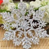 12 unids/set brillante copo de nieve brillante Navidad adorno para el árbol de Navidad de Garland hacer decoraciones de Navidad