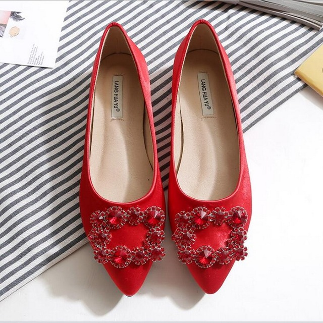 55568c5d3d4df6 2018 New bride shoes red bride shoes small size 33 water drill square shoe  size 40-43
